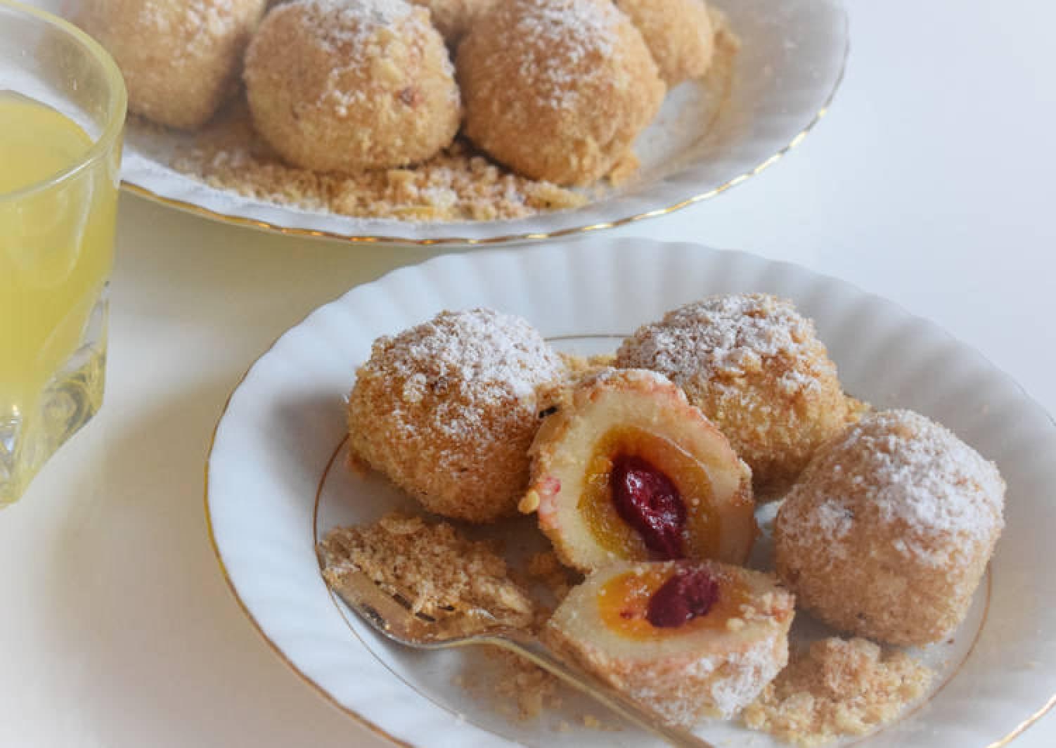 Apricot / cherry dumplings rolled in roasted almond breadcrumbs