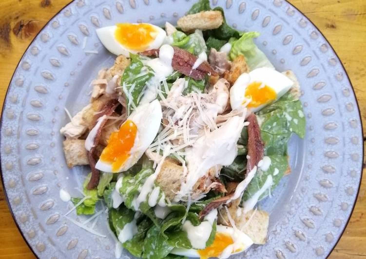 Beer can chicken Caesar salad skinny dressing version