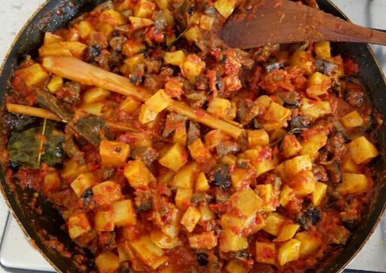 Spicy Potatoes with Chicken Liver (Sambal Goreng Kentang Ati)