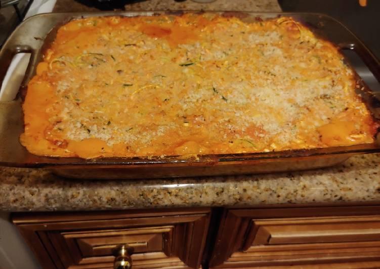 ITALIAN Doodle and spagetti squash cheesy bake. VEGAN