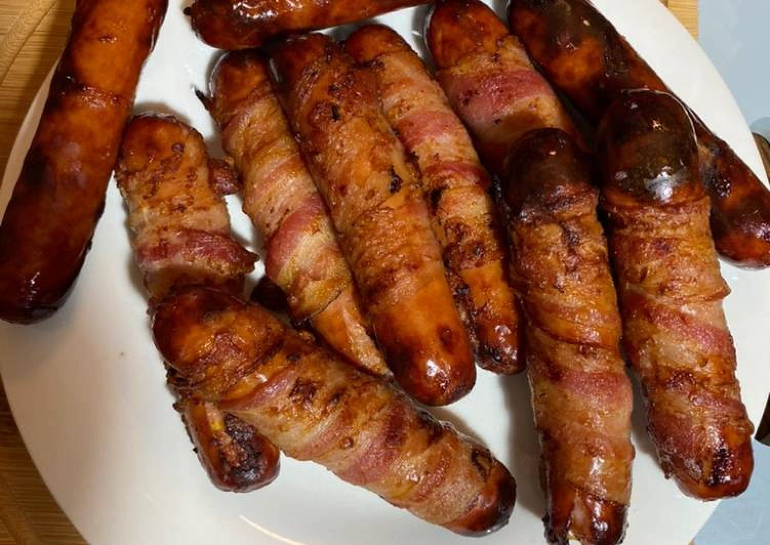Bacon wrapped cheddar Brats