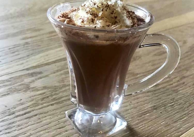 Peppermint Ginger Hot Cocoa with Almond milk, honey, cacao powder and Semi sweet chocolate Chips