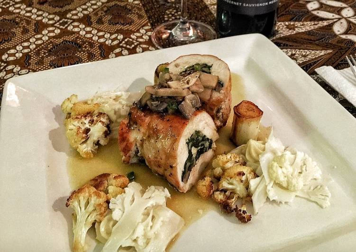 Chicken Roulade Stuffed with Wild Mushroom and Spinach