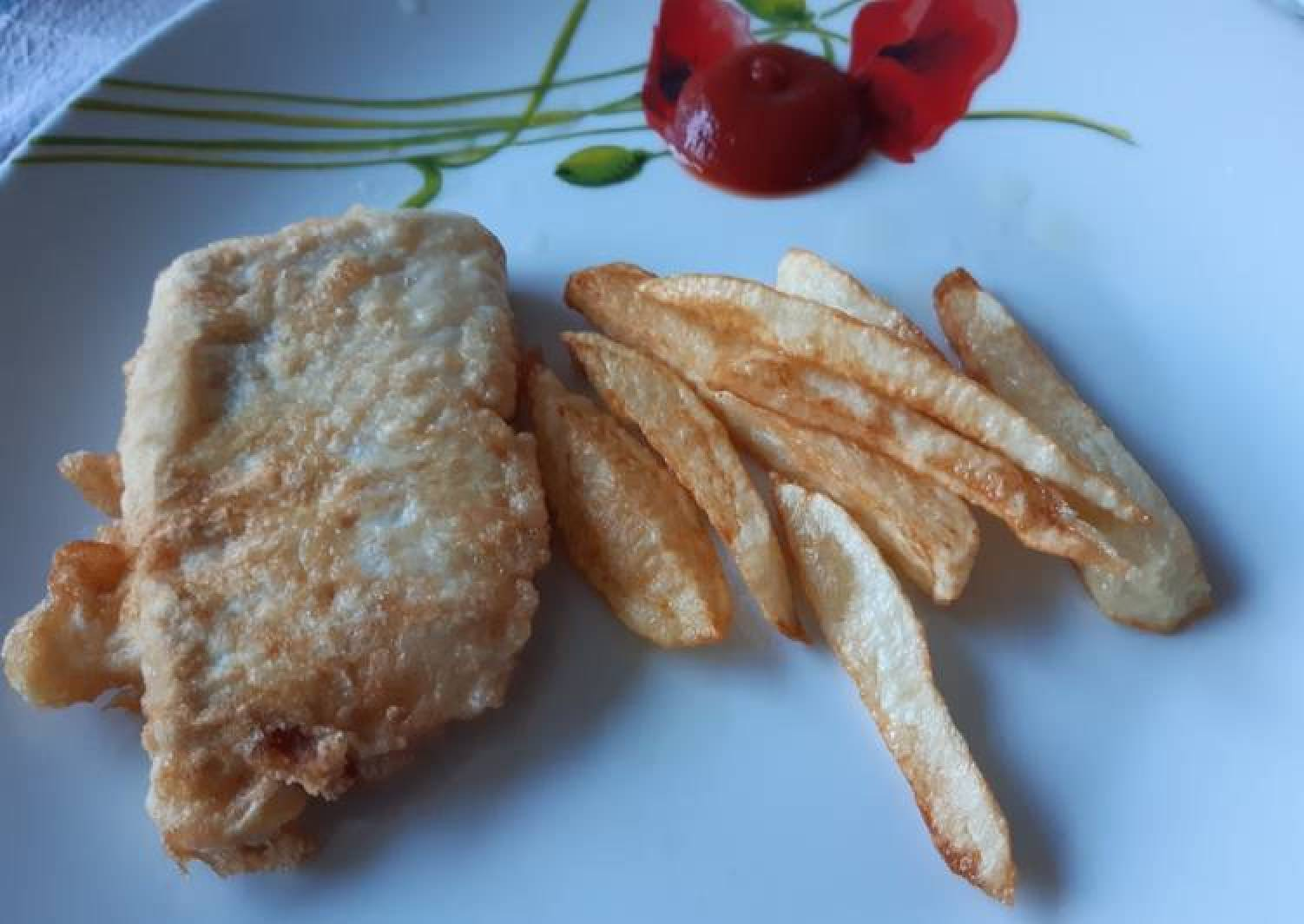 Almu's fish and chips. Battered hake and chips