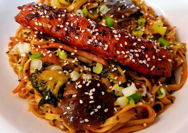 Honey Soy Glazed Salmon Udon Noodle Stir Fry