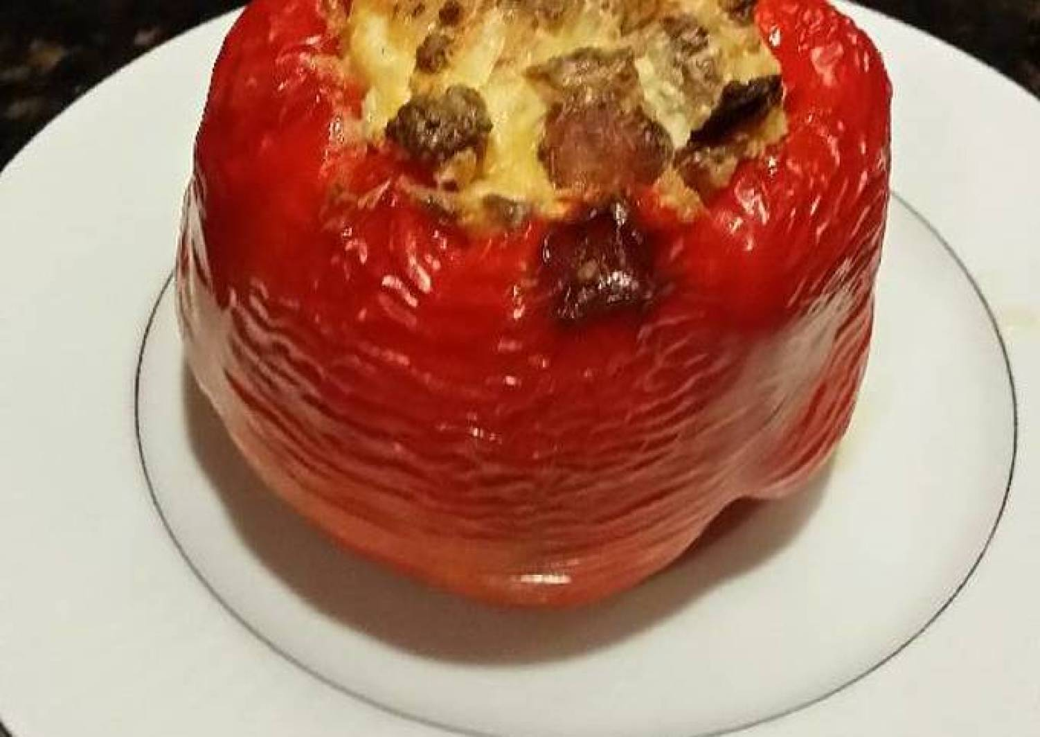 Brad's roasted red pepper stuffed with chicken apple sausage