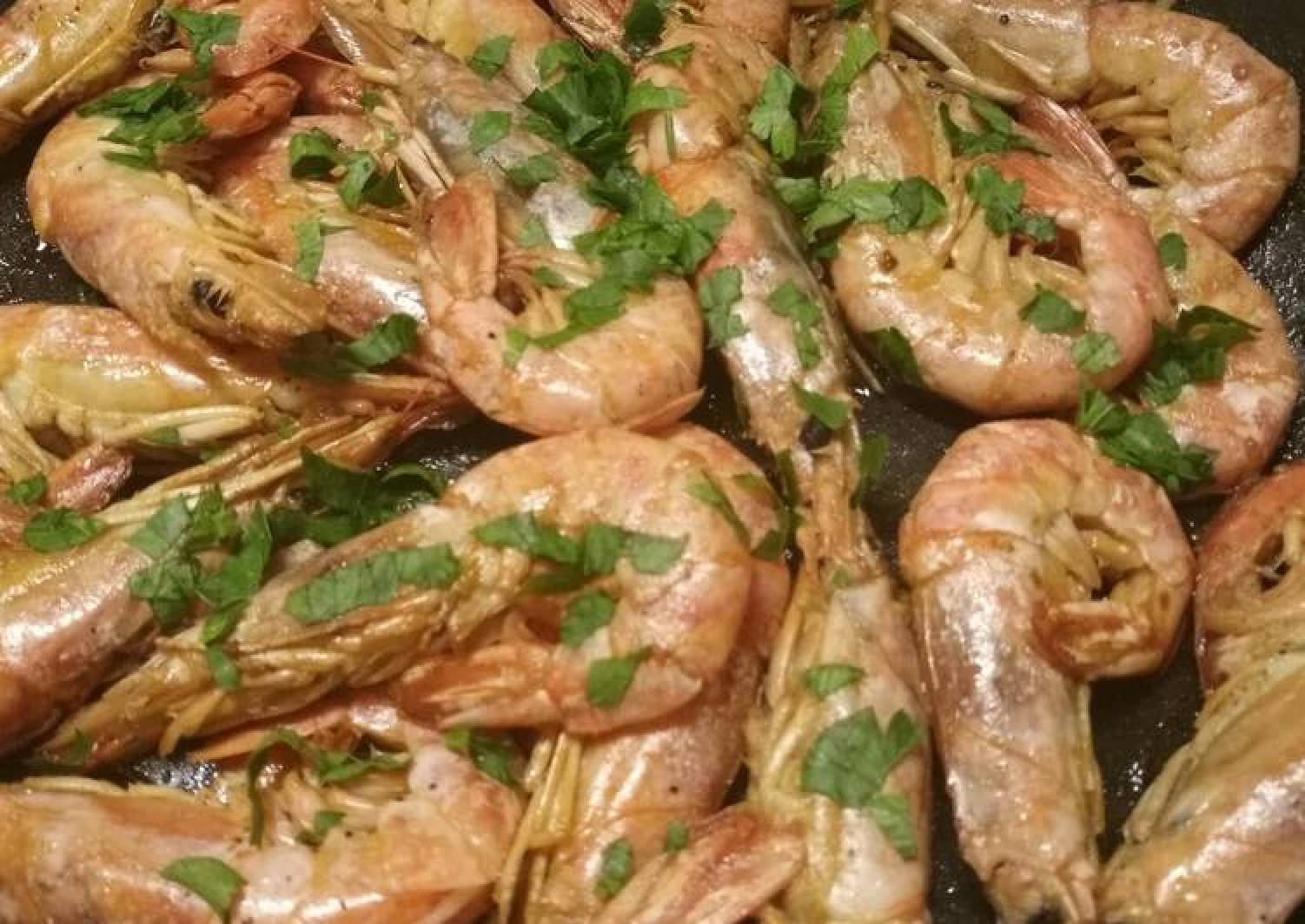 King prawns in a brandy and lemon sauce