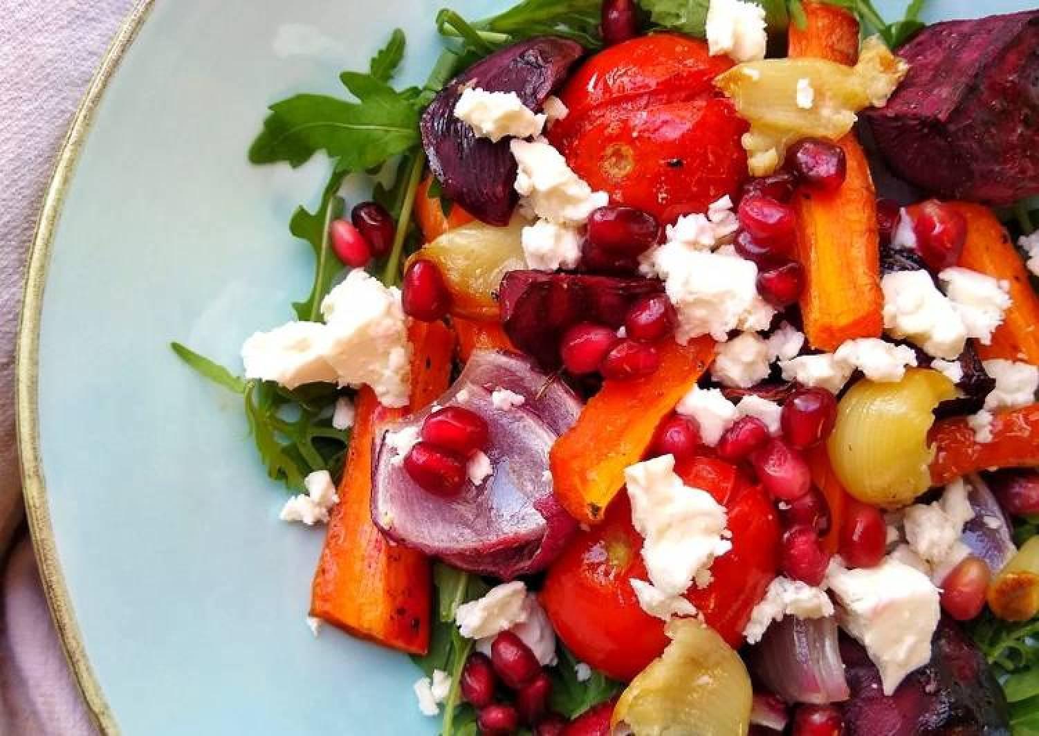 Warm Roasted Vegetable Salad With Feta