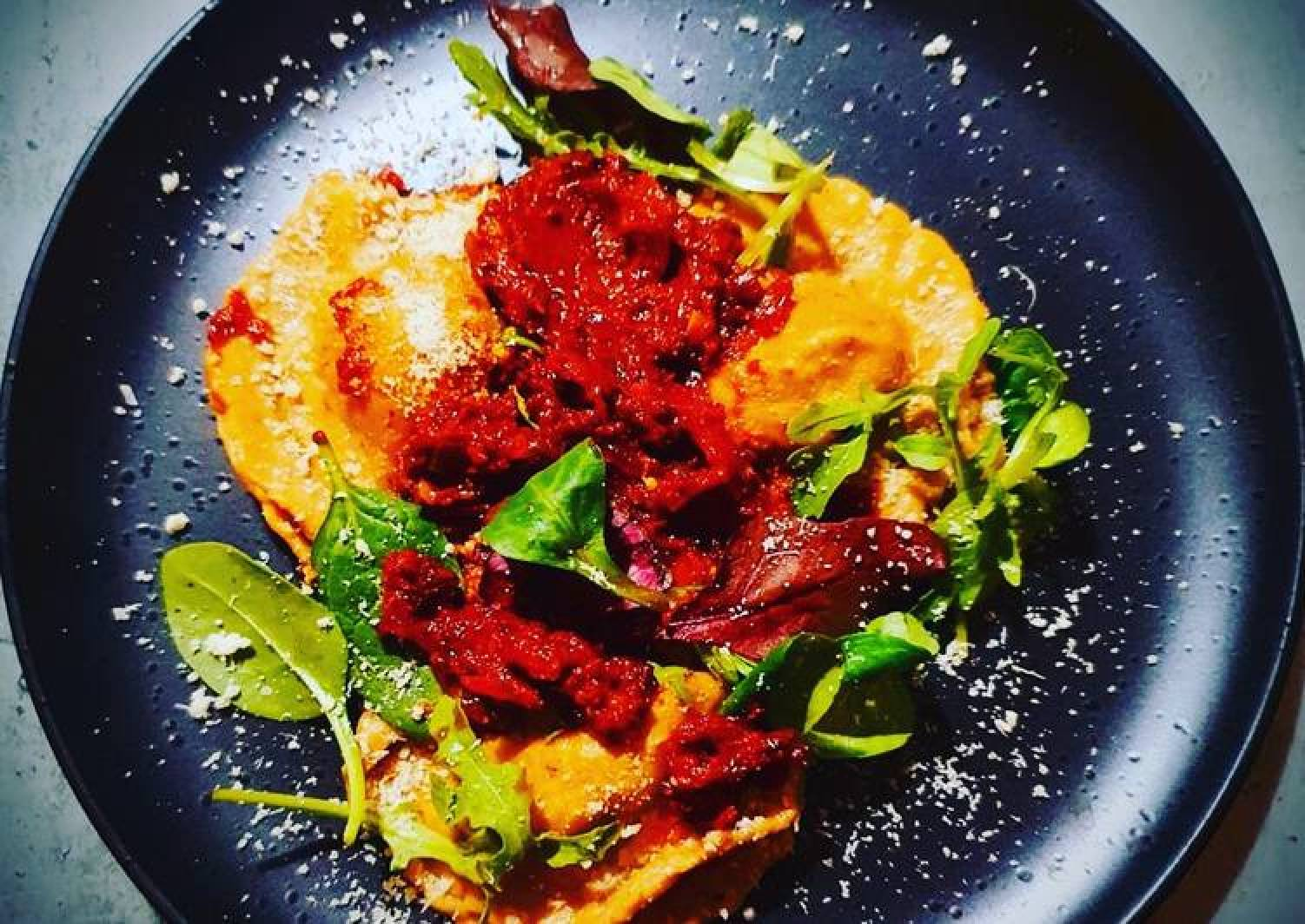 Spiced Leeks-Bacon-Mushrooms Ravioli with Red wine, Garlic and Chilli Tomato Sauce