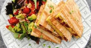 Scrambled egg and chorizo quesadillas