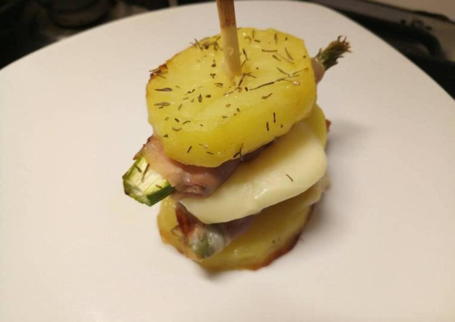 Asparagus, prosciutto and provolone potato stack