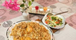 Chicken and potato pulao / with kachoomar salad