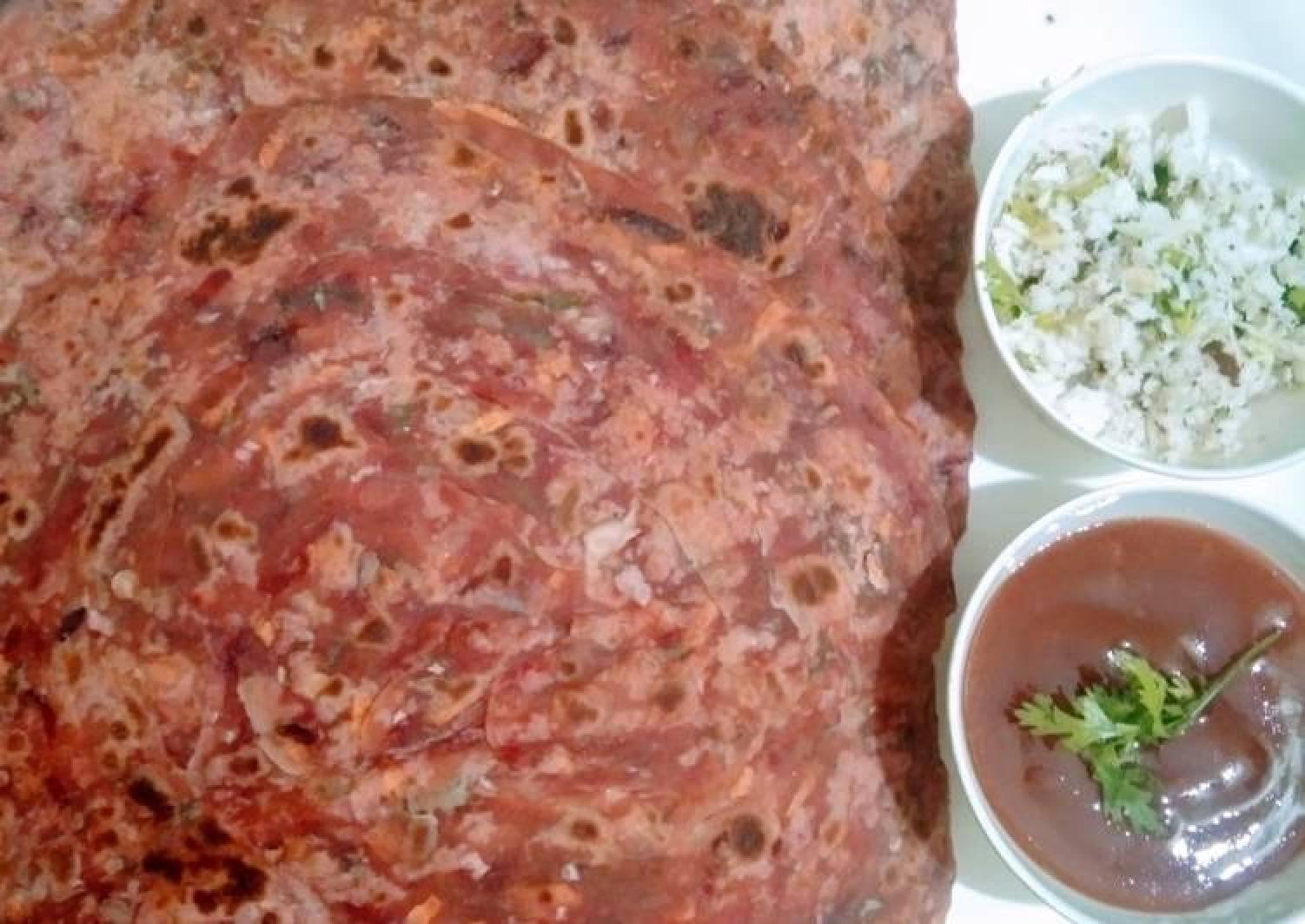 Beetroot cabbage paratha