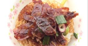 Chinese Sausage And Liver Sausage In Shao Xing Wine And Soy Sauce Baked Rice