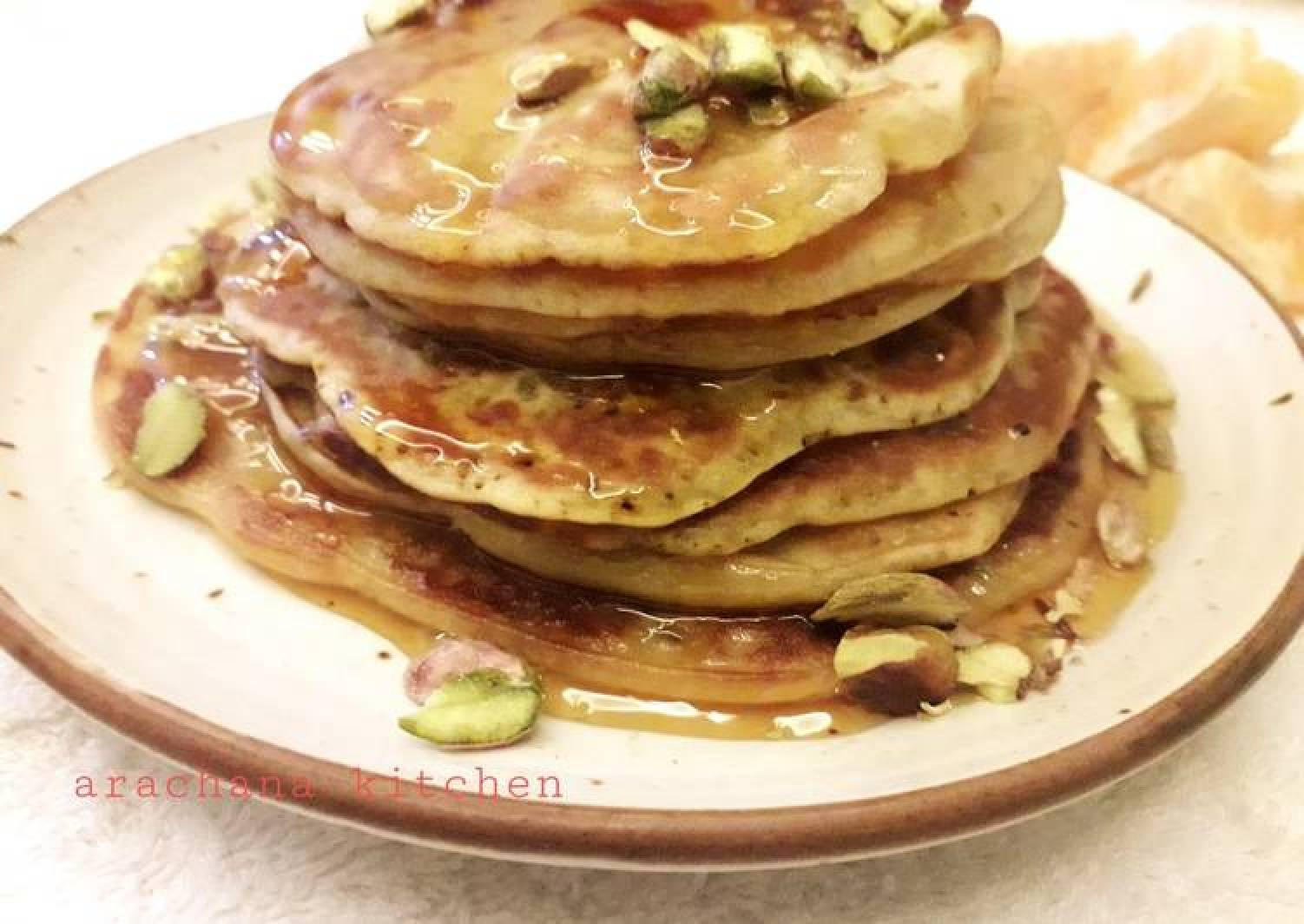 Orange wheat pistachio pancakes kids special recipe
