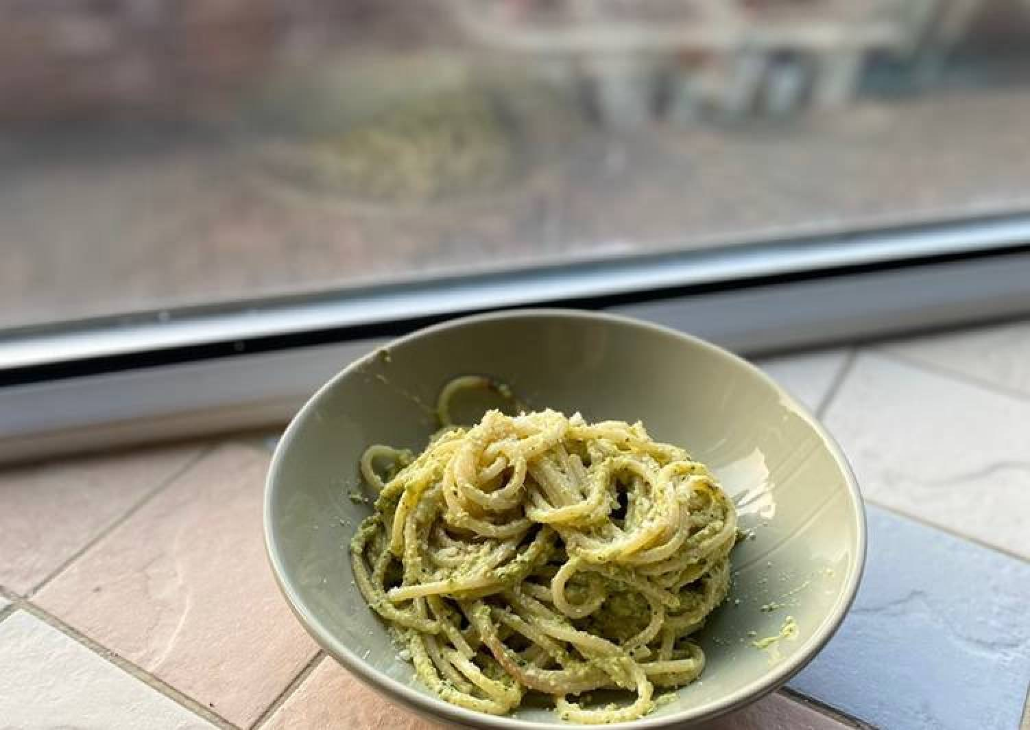 Experimental Apple Pesto Spaghetti