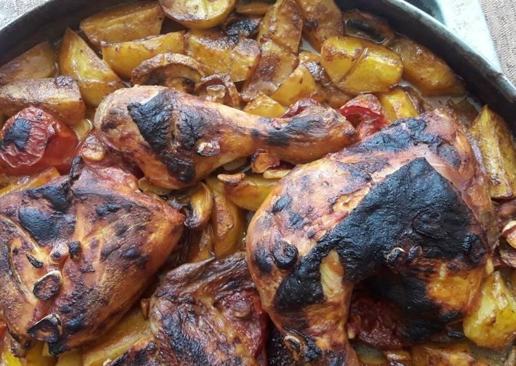 صينية الدجاج بالبطاط والزعتر الاخضر My Kitchen