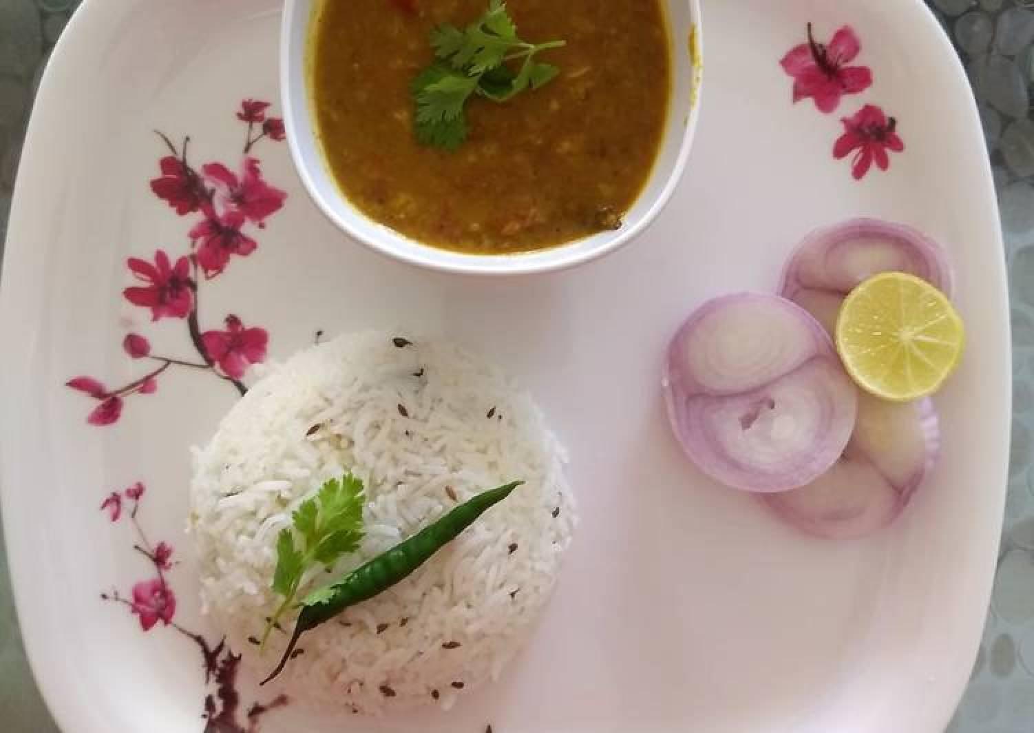 Mixed Dal Tadka and Jeera Rice