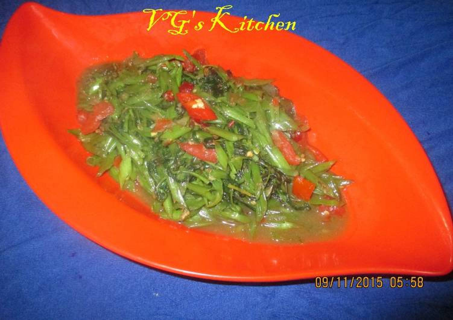 Water Spinach Sauteed with Dried Shrimp Paste (PONTIANAK)