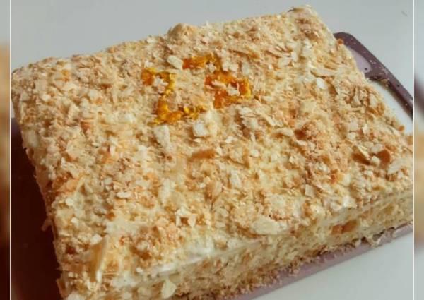 """Торт с готовыми коржами """"Наполеон"""" - пошаговый рецепт с ..."""
