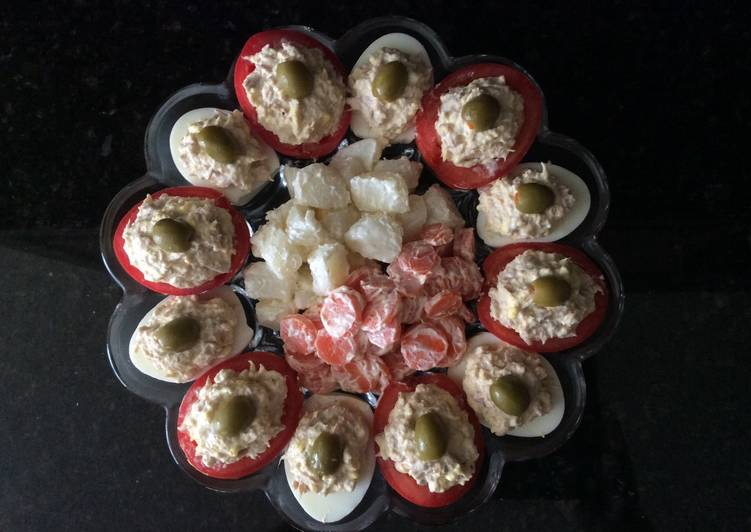 Stuffed Tomatoes and Deviled Eggs