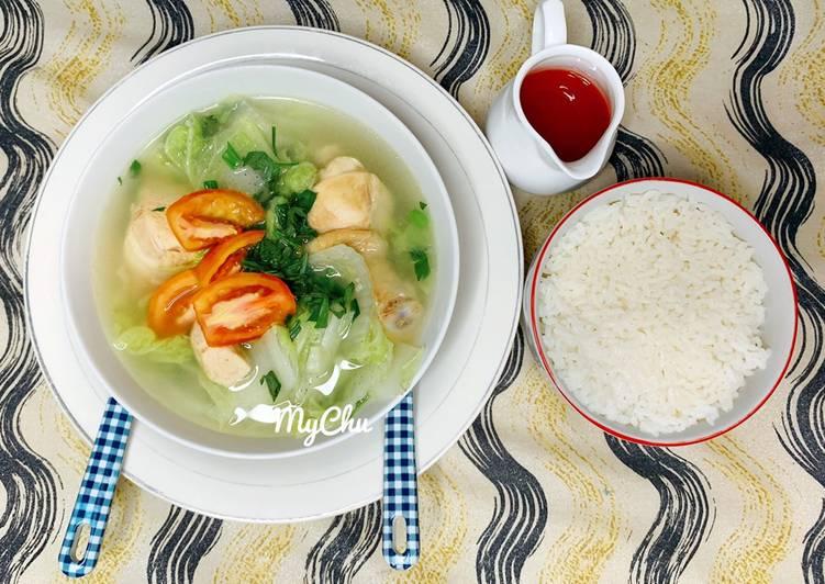 Sup ayam sawi putih