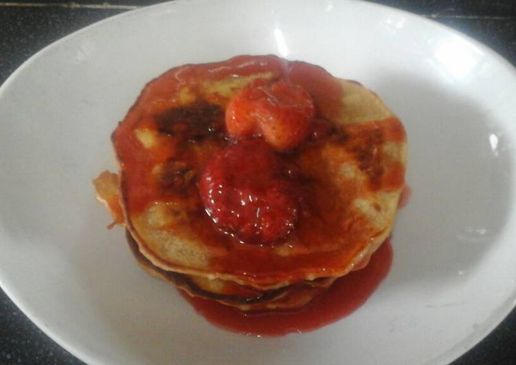 Recipe of Ultimate Vegan Pancakes with Strawberry sauce