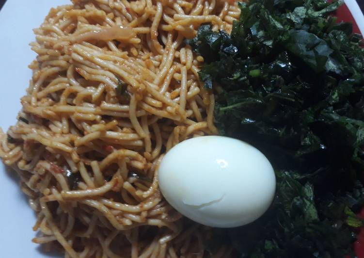 Spagetti,egg and vegetable