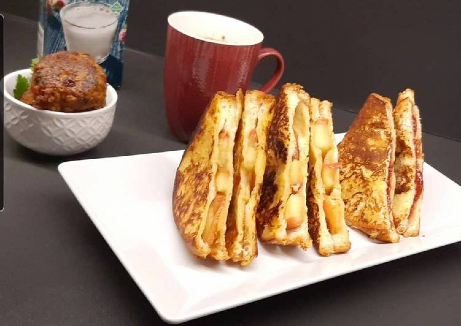 Caramelized apple and strawberry jam french toast