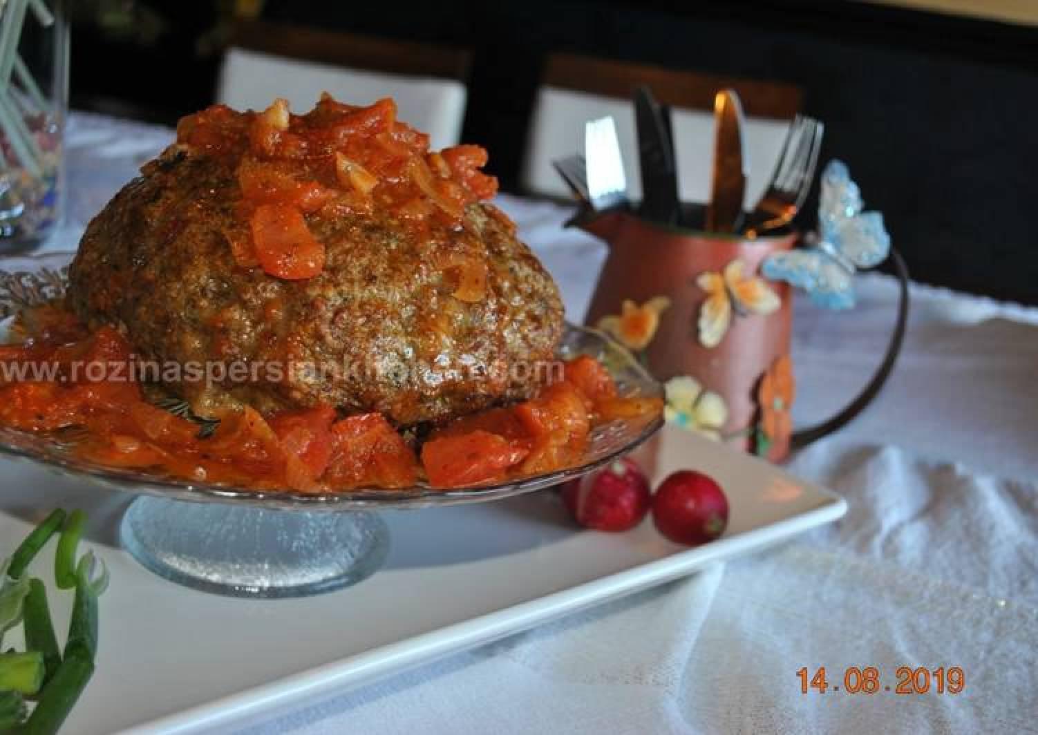 Giant Spaghetti Stuffed Meatball