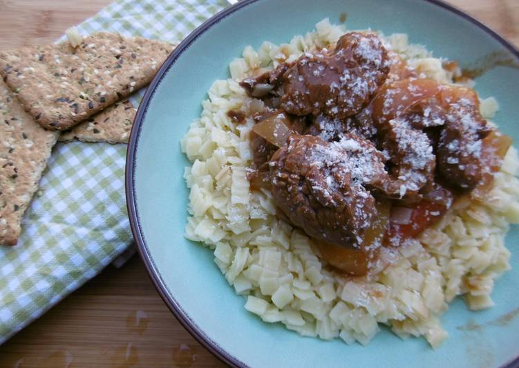 Greek Beef Stew with Homemade Noodles Moscharaki Kokkinisto me Xylopittes