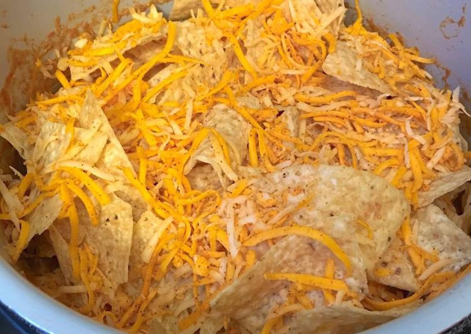 Upside down chicken nachos
