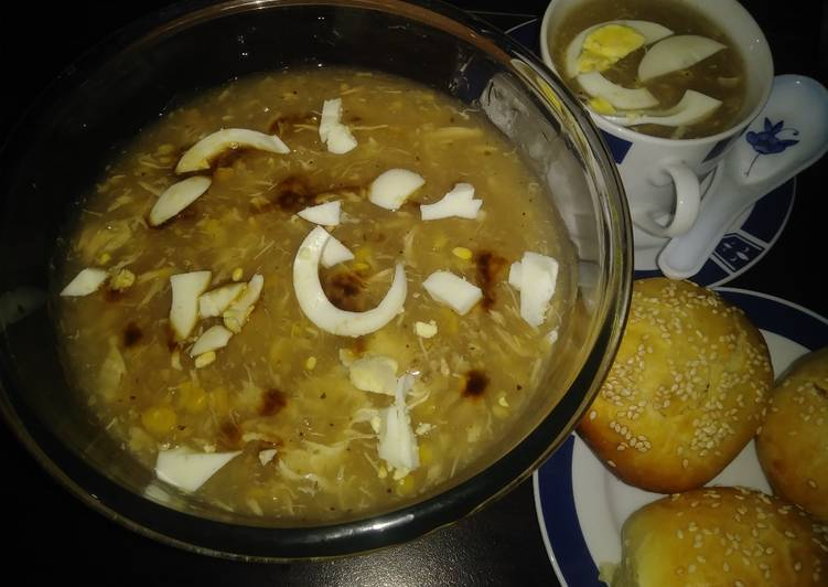Chicken corn soup with chicken buns