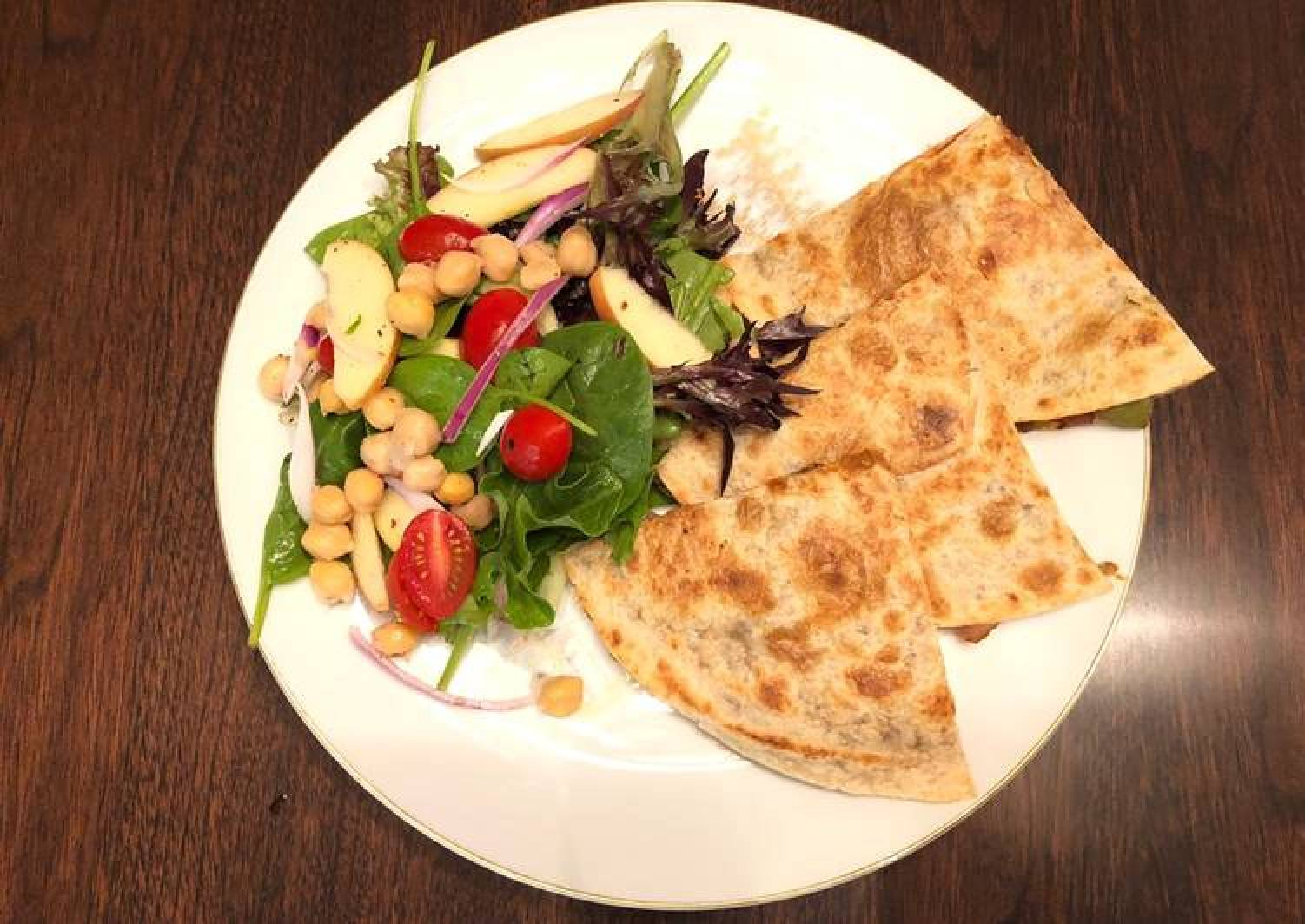 Chickpeas Lemon Peppers Salad with Refried Bean Veggies Quesadilla