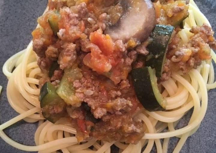 Spaghetti Zucchini Bolognese