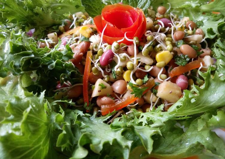 Green Grams Sprouts Garden Fresh Salad#themechallenge