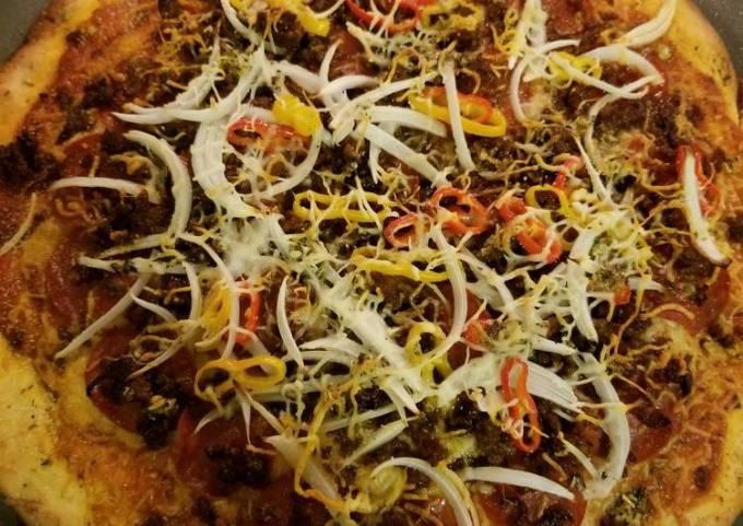 Chorizo and pepperoni pizza