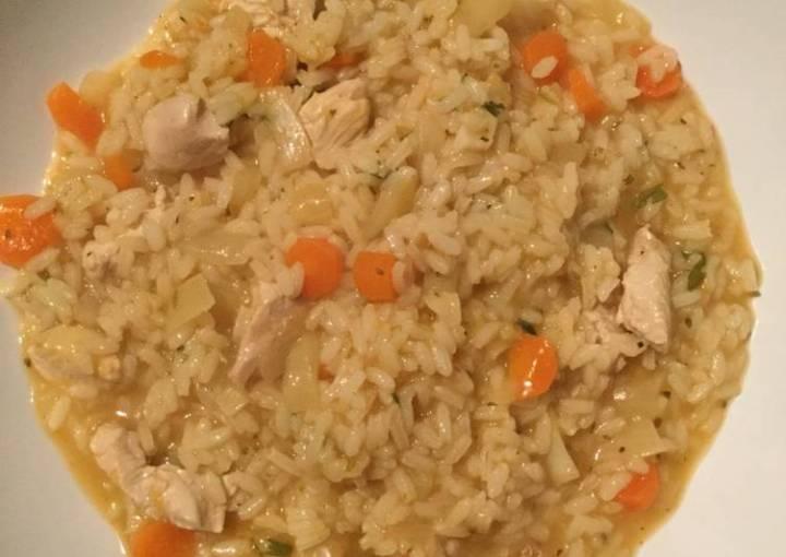 Chicken rice soup... always make it when i'm sick