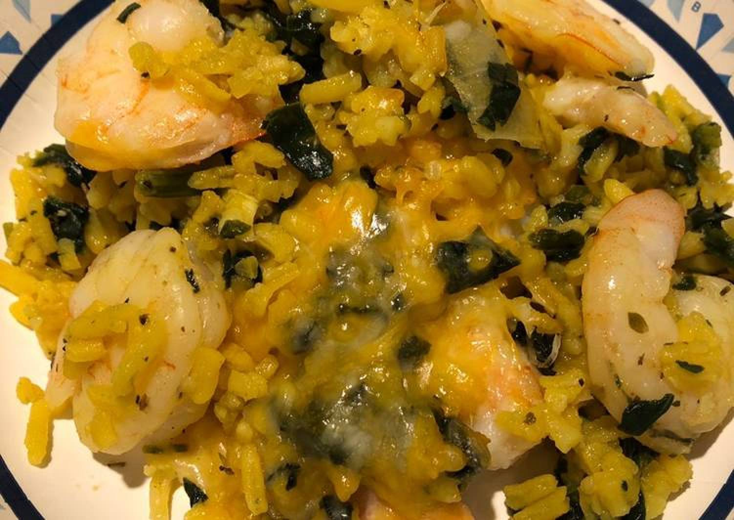 Spinach and Shrimp Rice Bake