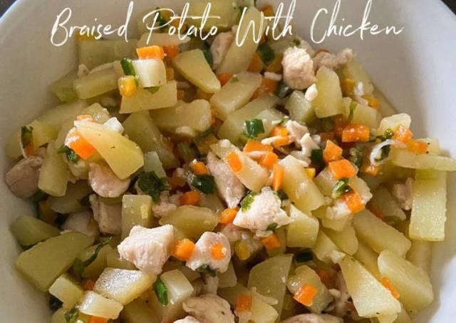 Easy Cooking: Braised Potato with Chicken (Tumis Kentang Dengan Ayam)
