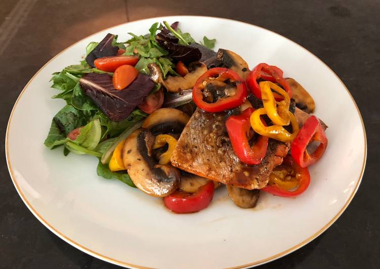 Recipe: Tasty Grilled Salmon with Sautéed Mushrooms mixed Bell Peppers, and Greens Salad used BBQ Sauce