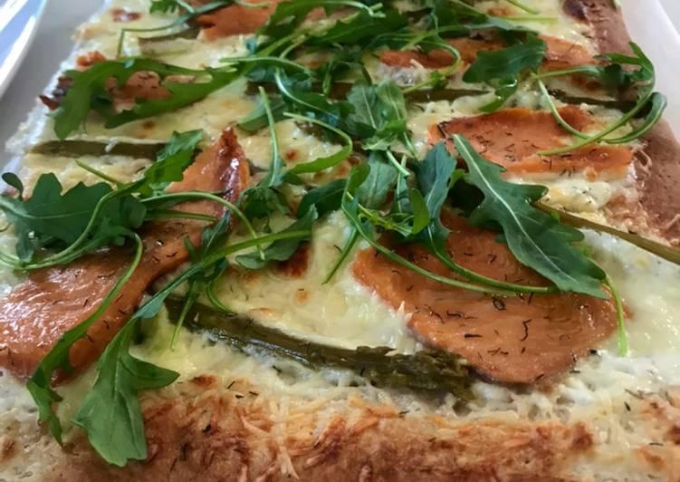 Pizza maison #healthy saumon-asperges vertes 🌱