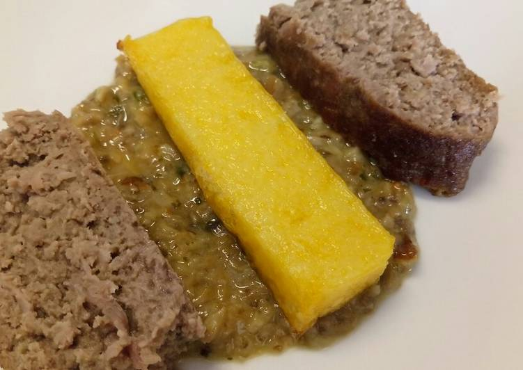 Ham and Parmesan meatloaf with polenta and mushroom sauce