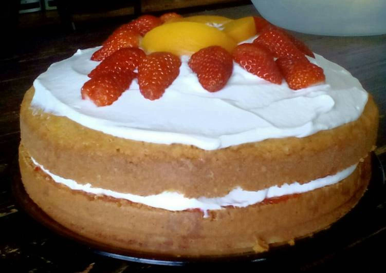 Victoria Sponge Cake with Creme Fraiche and Fruit Topping