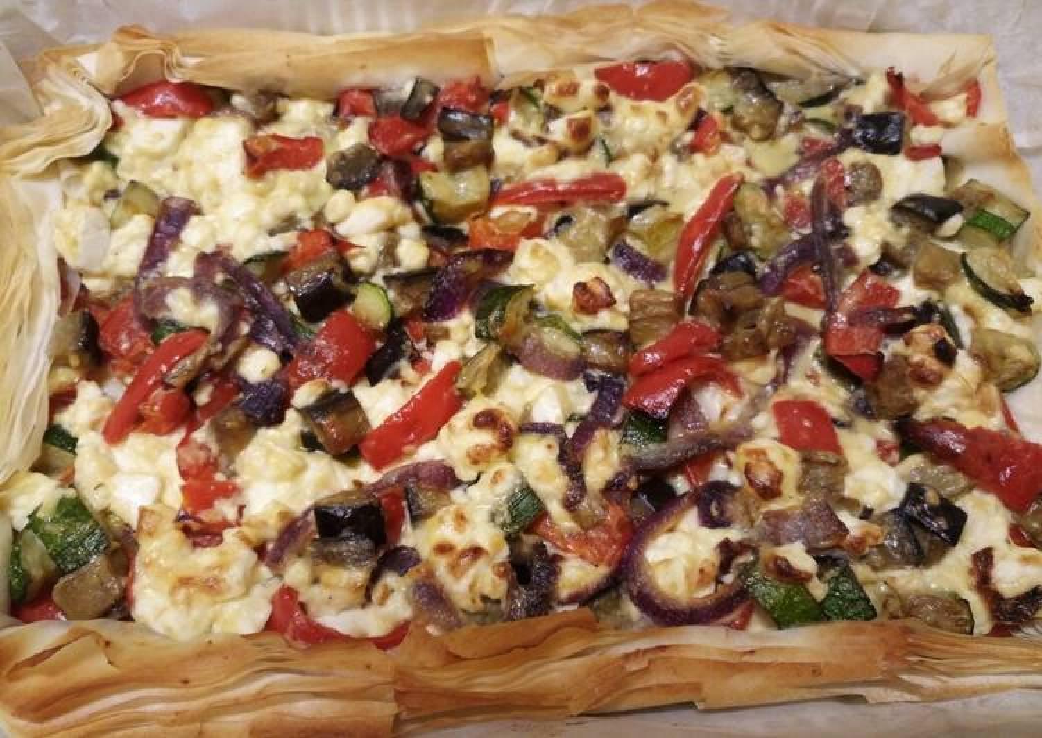 Feta and veg filo pie
