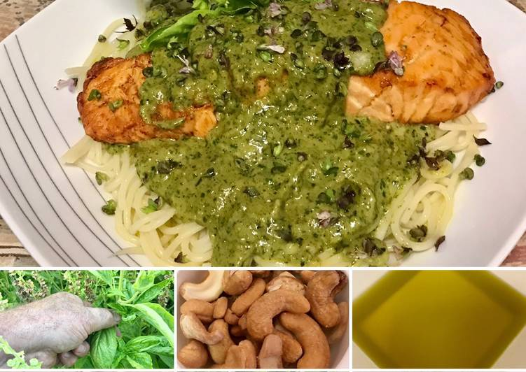 Steps to Prepare Super Quick Homemade Grilled salmon with pesto on top of pasta