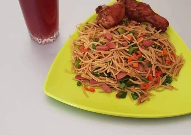 Garnished spagetti