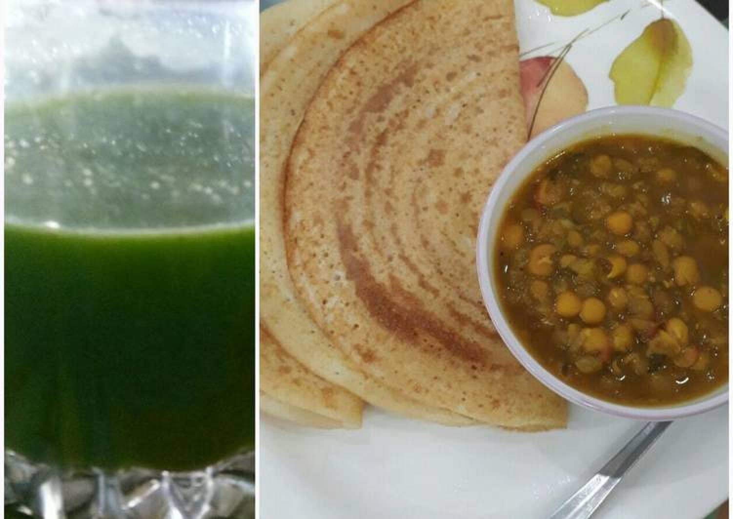 Whole wheat Bread Dosa with Dried white peas curry and Green smoothie