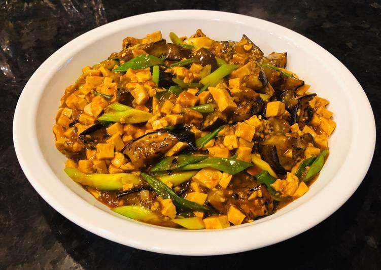 Spicy Eggplant Mapo Tofu (un-stir fried Eggplant and Tofu)