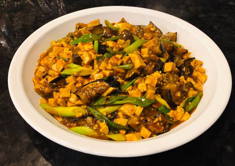 Spicy Eggplant Mapo Tofu (un-stir fried Eggplant and Tofu)